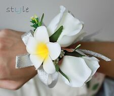 Wedding TWO Roses & Plumeria Bridal Bridesmaid Wrist Corsage Artificial Flowers