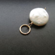 Coin Pearl Wire Wrapped with Jump Ring Interchangeable Pendant