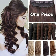 Real Thick Full Head One Piece 5Clips Clip In Hair Extensions Long Fake Hair f1t