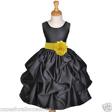 BLACK PICK-UP FLOWER GIRL HALLOWEEN DRESS HOLIDAY PARTY WEDDING 12M 2 4 6 7 8 10