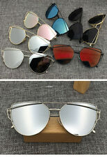 Womens Flat Lens Mirror Metal Frame Oversized Cat Eye Sunglasses