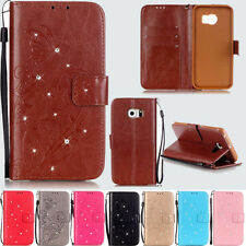 Card Holder Leather Flip Diamond Wallet Case Cover Stand Floral For Samusng LG