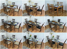 Solid Wood Dining Table and 4 Chairs Set Glass Extending Kitchen Furniture Sets