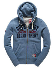 New Mens Superdry Applique Zip Hoodie Mineral Blue