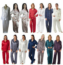 Ladies Satin PJs Pyjamas Size 10 12 14 16 18 20 22 24 26 28 NEW