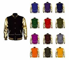 Genuine Golden Leather Sleeve and Wool Letterman College Baseball Varsity Jacket