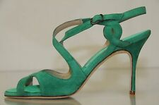 NEW MANOLO BLAHNIK Emerald Green Suede Ankle Strap Sandals BB  SHOES 37