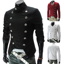 Mens Casual Slim Fit Coat Peacoat Solid Winter Double Breasted Trench Jacket