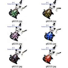 g621m12 Lovely Animal Cat Flower Bead Murano Lampwork Glass Pendant Necklace New