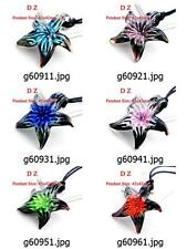 g609m28 Women's Starfish Flower Art Murano Lampwork Glass Pendant Necklace Cord