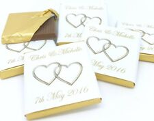 Personalised Chocolate Wedding Favours - Gold Entwined Hearts - 50/100/150/250