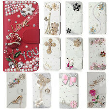 Bling Glitter Case Cover Fitted Wallet Cases Rhinestone Skins For HTC Phones