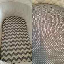 100% cotton Bassinet or moses basket fitted sheet in grey, chevron, dots, clouds
