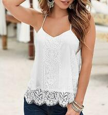 Swing Floral Party V Neck Strappy Summer Lace Sleeveless Cami Top Eyelash