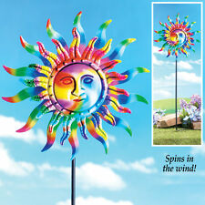 Outdoor Wind Spinner Colorful Sun Garden Stake Metal Iron Decor Patio Lawn Yard
