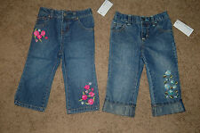 NWT Girls Greendog Embroidered Flower Denim Jeans Size 6/9M 18M Nice LQQK FS!