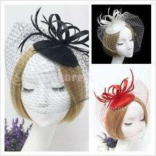 Womens Bridal Wedding Fascinator with Veil Tea Party Church Hat Hair Piece Clips