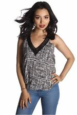 121AVENUE Classy Trim Sleeve Print Top S M L Small Medium Large Women Black