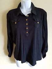 Chaps XL Navy Blue Gold Button Stretch Knit Cotton Polo Shirt FAST FREE SHIPPING