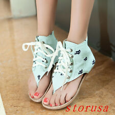 Summer Women Girls Beach Shoes Sandals Flat Heel Boots Lace Up Lady Shoes New