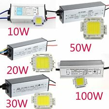IP65 Power LED Driver Supply 10W/20W/30W/50W/100W Cool Warm White LED Chip Lamp