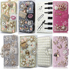 Bling Diamond Case Flip Rhinestone Wallet Stand Crystal Cover Skin PU Leather