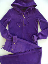 Juicy Couture J Bling Hoodie Pocket Pants Tracksuit Purple Velour Small S