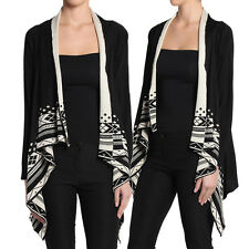 TheMogan Contrast Tribal Print Shawl Collar Knit Sweater Layering Cardigan