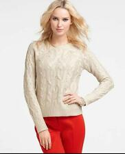 NEW ANN TAYLOR GORGEOUS FOILED CABLE CREW NECK SWEATER  Sz XL  NWT $128.00 GOLD