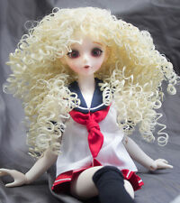 Doll Wig Super Curly Wild Hair Flaxen Blond BJD Ball Jointed Doll Size 6-7 8-9