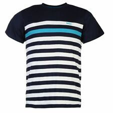 MENS NAVY BLUE WHITE LEE COOPER STRIPE STRIPED SHORT SLEEVE T-SHIRT TEE SHIRT