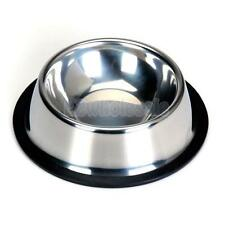 Stainless Steel Pet Dish Dog Cat Food Feeding Bowl Water Feeder w/ Rubber Ring