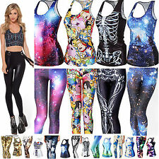 Women Gothic Punk 3D Digital Printed T-Shirt Tank Top Vest Skinny Leggings Pants