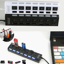 Hot ON/OFF Black High Speed Switch For Laptop PC Adapter New USB 2.0 HUB 7-Port
