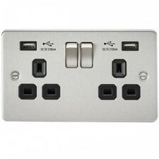 Knightsbridge 9902BC FLAT PLATE 13A 2G SWITCHED SOCKET WITH DUAL USB CHARGER