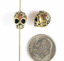 TierraCast Pewter Beads-Antique Gold Rose Skull (2 Pieces)