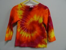GIRLS GORGEOUS LONG SLEEVE TIE DYE / DYED HIPPY AWESOME FUNKY TEE SHIRT SIZE 2