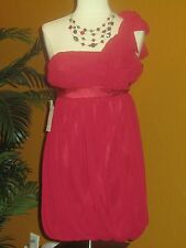 LAUNDRY BY DESIGN NWT  $178 red cocktail party women's dress one shoulder