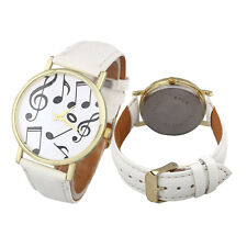 Stylish Casual Women's Men's Leather Band Analog Quartz  Watch Musical Notes