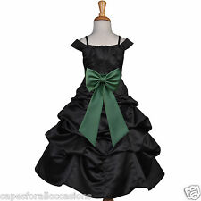 BLACK PARTY RECITAL WEDDING FLOWER GIRL DRESS 2 2T 3 3T 4 4T 5 5T 6 6X 7 8 9 10