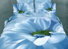 3D Bedding Quilt Doona Duvet Cover Bed Sheet Pillowcase Set - Blue White -Flower