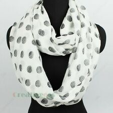 Fashion Women's Dot Print Soft  Infinity Loop Cowl Eternity Voile Casual Scarf