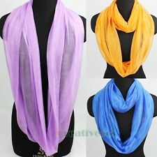 Fashion Women's Solid Silk Polyester Infinity 2Loop Cowl Eternity Casual Scarf