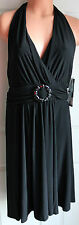 Black Halter Dress Size 12 Sexy  Scarlett SCARLET  ~ Jeweled Waist NWT