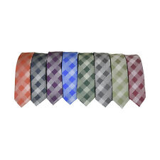 Kids Tie Satin Checkered Print Youth Necktie Formal Teen Boy's Wedding Neck Tie