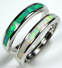 White & Green Fire Opal Inlay 925 Sterling Silver Band Ring Set Size 6 - 8.75
