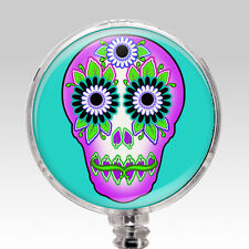 Nurse ID Badge - ID Holder Clip Retractable Name Badge Reel - Day of the Dead 3