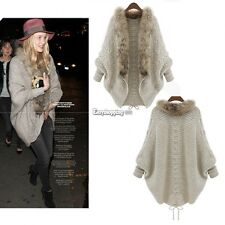 Faux Fur Collar Loose Batwing Cape Coat Jacket Knit Cardigan Sweater Outwear ES9