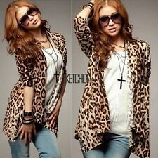 New Fashion Women Leopard Print Slim Irregular Top Long Sleeve Shirt Blouse KECP