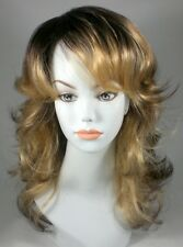 Brown/Blond Straight Wig w/Bangs - Long Wavy Shag